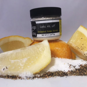 whipped soap sugar scrub lemon soap black tea scrub