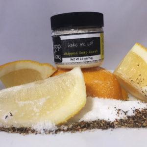 whipped soap sugar scrub lemon soap black tea scrub